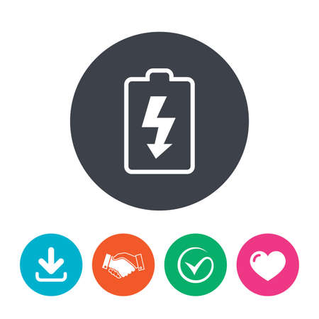 lightning arrow: Battery charging sign icon. Lightning symbol. Download arrow, handshake, tick and heart. Flat circle buttons.