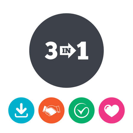 heart suite: Three in one suite sign icon. 3 in 1 symbol with arrow. Download arrow, handshake, tick and heart. Flat circle buttons. Illustration