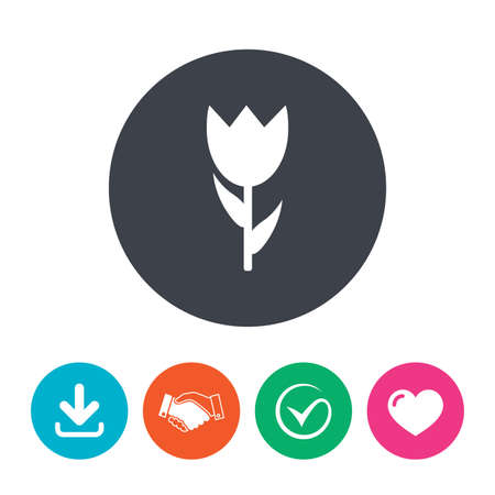 macro flower: Flower sign icon. Rose symbol. Macro. Download arrow, handshake, tick and heart. Flat circle buttons.