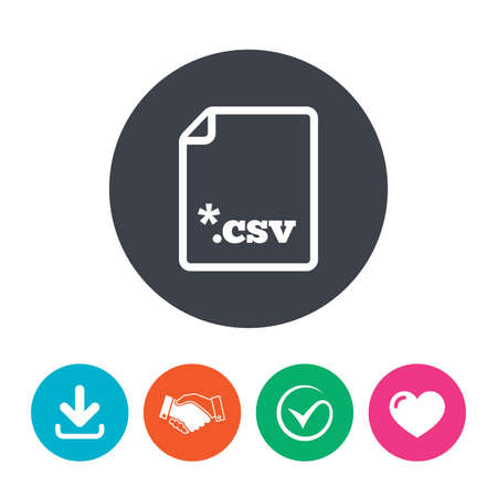 csv: File document icon. Download tabular data file button. CSV file extension symbol. Download arrow, handshake, tick and heart. Flat circle buttons. Illustration
