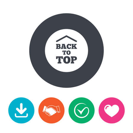 scroll up: Back to top arrow sign icon. Scroll up page symbol. Download arrow, handshake, tick and heart. Flat circle buttons. Illustration