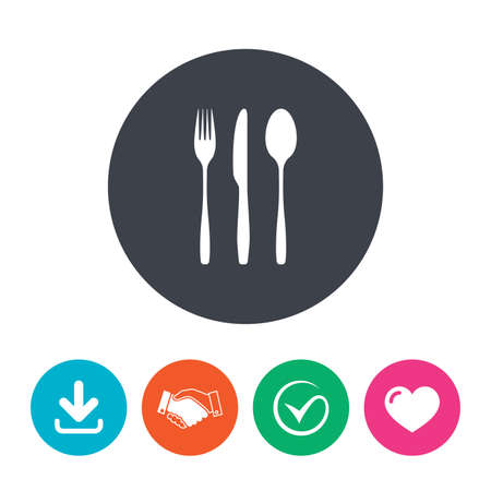 tablespoon: Fork, knife, tablespoon sign icon. Cutlery collection set symbol. Download arrow, handshake, tick and heart. Flat circle buttons.