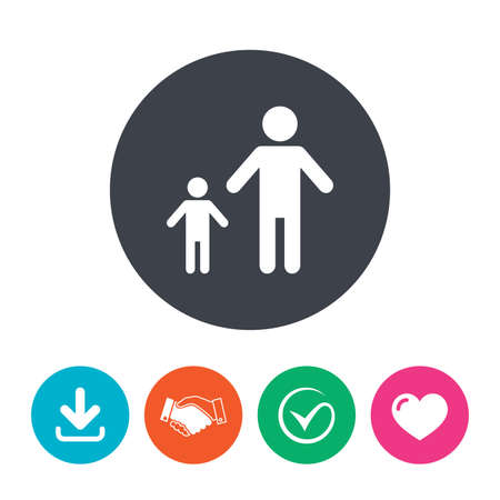 family with one child: One-parent family with one child sign icon. Father with son symbol. Download arrow, handshake, tick and heart. Flat circle buttons. Illustration