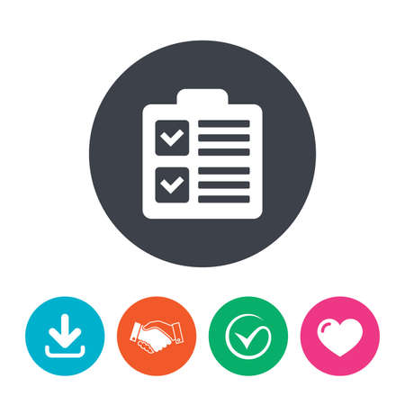 form a circle: Checklist sign icon. Control list symbol. Survey poll or questionnaire form. Download arrow, handshake, tick and heart. Flat circle buttons.