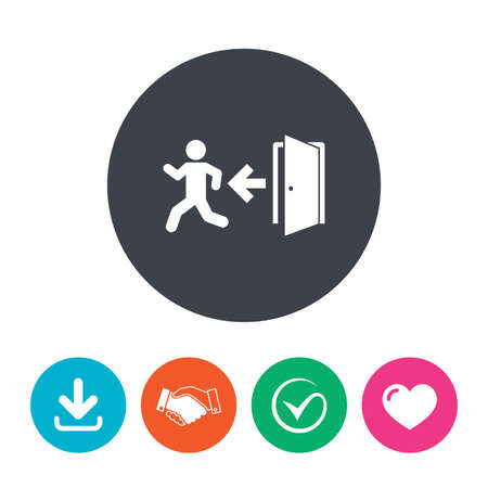 fire exit: Emergency exit with human figure sign icon. Door with left arrow symbol. Fire exit. Download arrow, handshake, tick and heart. Flat circle buttons. Illustration
