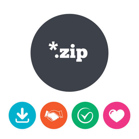 file extension: Archive file icon. Download compressed file button. ZIP zipped file extension symbol. Download arrow, handshake, tick and heart. Flat circle buttons. Illustration
