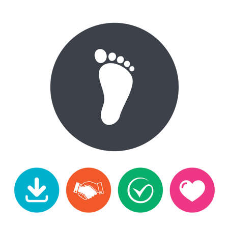 feet: Child footprint sign icon. Toddler barefoot symbol. Download arrow, handshake, tick and heart. Flat circle buttons.
