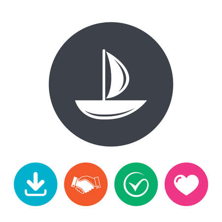 ship sign: Sail boat icon. Ship sign. Shipment delivery symbol. Download arrow, handshake, tick and heart. Flat circle buttons.