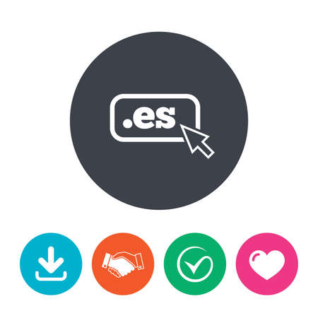 es: Domain ES sign icon. Top-level internet domain symbol with cursor pointer. Download arrow, handshake, tick and heart. Flat circle buttons.