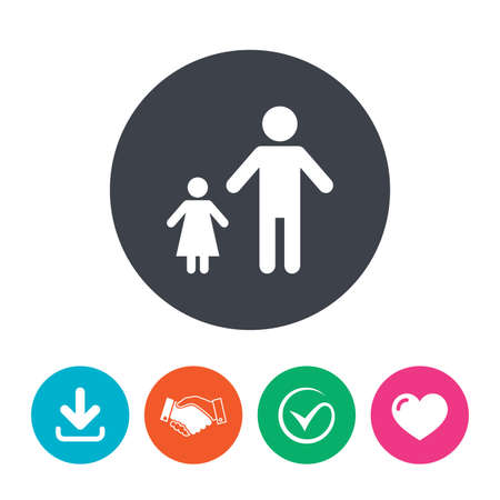 family with one child: One-parent family with one child sign icon. Father with daughter symbol. Download arrow, handshake, tick and heart. Flat circle buttons.