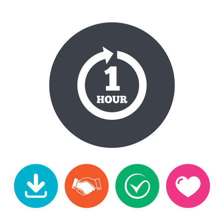every: Every hour sign icon. Full rotation arrow symbol. Download arrow, handshake, tick and heart. Flat circle buttons.