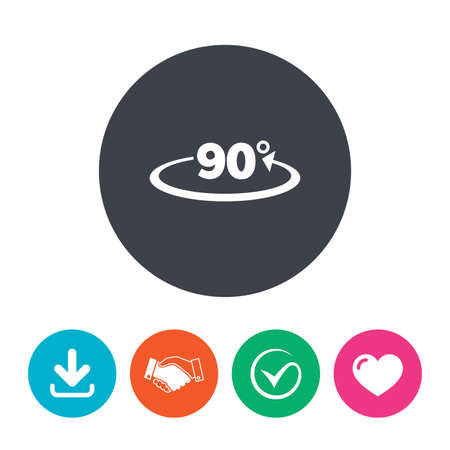 angle: Angle 90 degrees sign icon. Geometry math symbol. Right angle. Download arrow, handshake, tick and heart. Flat circle buttons.