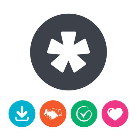 more information: Asterisk footnote sign icon. Star note symbol for more information. Download arrow, handshake, tick and heart. Flat circle buttons.