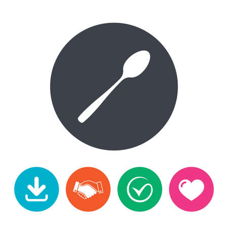 teaspoon: Eat sign icon. Cutlery symbol. Diagonal dessert teaspoon. Download arrow, handshake, tick and heart. Flat circle buttons. Illustration