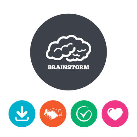 marrow: Brainstorm sign icon. Human think intelligent smart mind. Download arrow, handshake, tick and heart. Flat circle buttons.