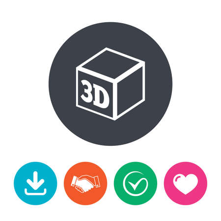 additive: 3D Print sign icon. 3d cube Printing symbol. Additive manufacturing. Download arrow, handshake, tick and heart. Flat circle buttons. Illustration