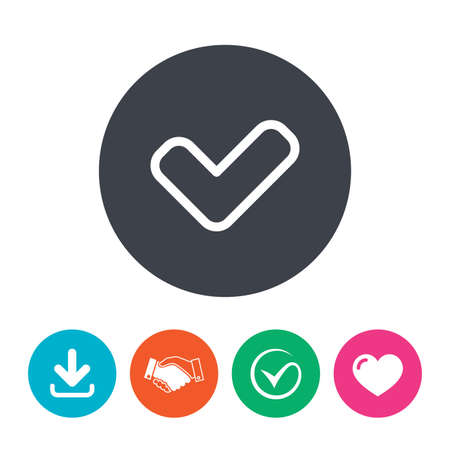 yes button: Check sign icon. Yes button. Download arrow, handshake, tick and heart. Flat circle buttons.