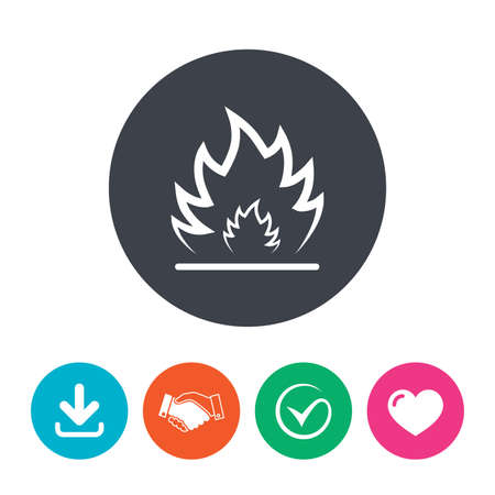 fire escape: Fire flame sign icon. Heat symbol. Stop fire. Escape from fire. Download arrow, handshake, tick and heart. Flat circle buttons.