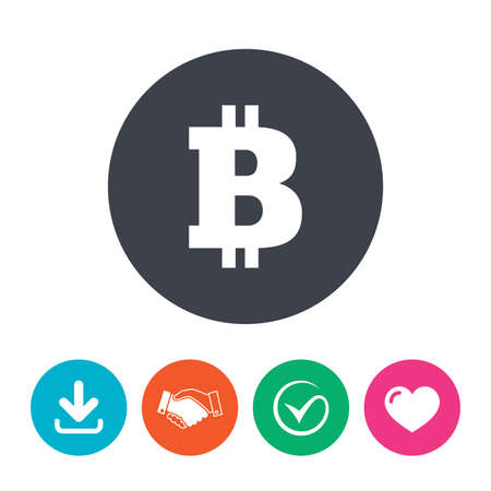p2p: Bitcoin sign icon. Cryptography currency symbol. P2P. Download arrow, handshake, tick and heart. Flat circle buttons.