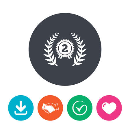 medal like: Second place award sign icon. Prize for winner symbol. Laurel Wreath. Download arrow, handshake, tick and heart. Flat circle buttons.