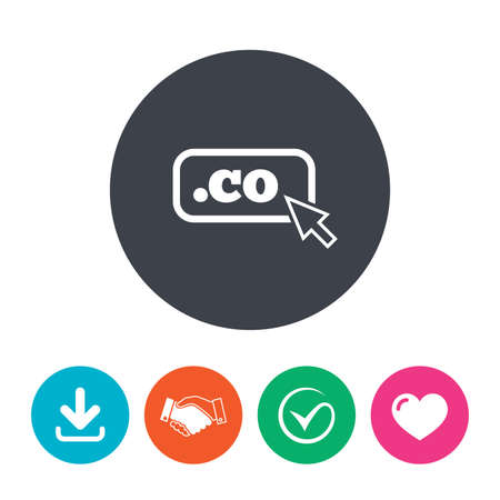 co: Domain CO sign icon. Top-level internet domain symbol with cursor pointer. Download arrow, handshake, tick and heart. Flat circle buttons.