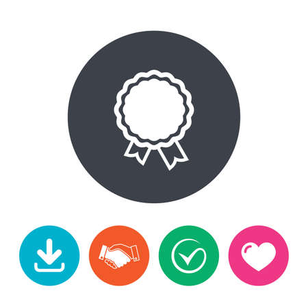 an achievement: Award icon. Best guarantee symbol. Winner achievement sign. Download arrow, handshake, tick and heart. Flat circle buttons. Illustration