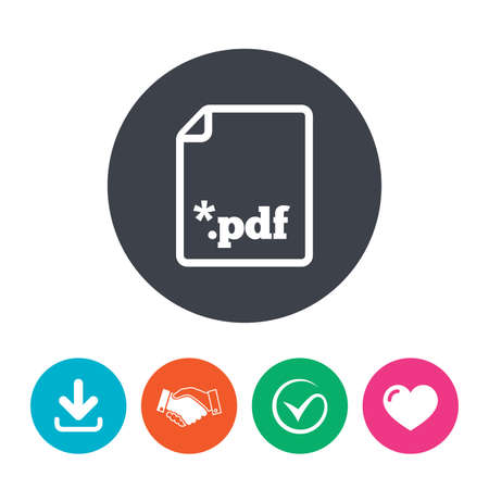 file extension: PDF file document icon. Download pdf button. PDF file extension symbol. Download arrow, handshake, tick and heart. Flat circle buttons.