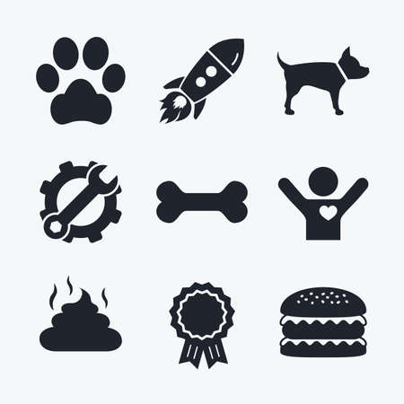 treat like a dog: Award achievement, spanner and cog, startup rocket and burger. Pets icons. Dog paw and feces signs. Clean up after pets. Pets food. Flat icons.