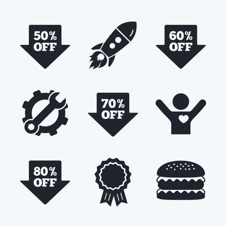 50 to 60: Award achievement, spanner and cog, startup rocket and burger. Sale arrow tag icons. Discount special offer symbols. 50%, 60%, 70% and 80% percent off signs. Flat icons. Illustration