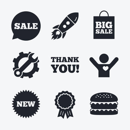star award: Award achievement, spanner and cog, startup rocket and burger. Sale speech bubble icon. Thank you symbol. New star circle sign. Big sale shopping bag. Flat icons.