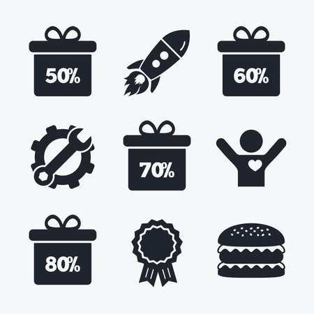 50 60: Award achievement, spanner and cog, startup rocket and burger. Sale gift box tag icons. Discount special offer symbols. 50%, 60%, 70% and 80% percent discount signs. Flat icons.