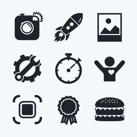 autofocus: Award achievement, spanner and cog, startup rocket and burger. Hipster retro photo camera icon. Autofocus zone symbol. Stopwatch timer sign. Landscape photo frame. Flat icons.
