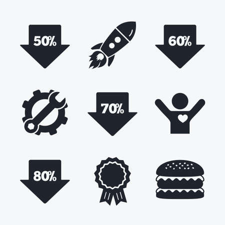 50 to 60: Award achievement, spanner and cog, startup rocket and burger. Sale arrow tag icons. Discount special offer symbols. 50%, 60%, 70% and 80% percent discount signs. Flat icons. Illustration