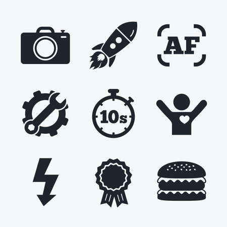 autofocus: Award achievement, spanner and cog, startup rocket and burger. Photo camera icon. Flash light and autofocus AF symbols. Stopwatch timer 10 seconds sign. Flat icons.