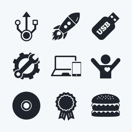 Award achievement, spanner and cog, startup rocket and burger. Usb flash drive icons. Notebook or Laptop pc symbols. Smartphone device. CD or DVD sign. Compact disc. Flat icons.