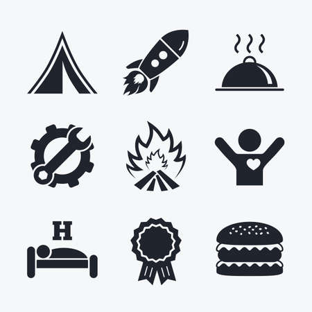 breakfast in bed: Award achievement, spanner and cog, startup rocket and burger. Hot food, sleep, camping tent and fire icons. Hotel or bed and breakfast. Road signs. Flat icons.