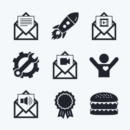 voice mail: Award achievement, spanner and cog, startup rocket and burger. Mail envelope icons. Message document symbols. Video and Audio voice message signs. Flat icons.