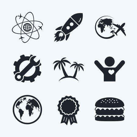 airplane world: Award achievement, spanner and cog, startup rocket and burger. Travel trip icon. Airplane, world globe symbols. Palm tree sign. Travel round the world. Flat icons.