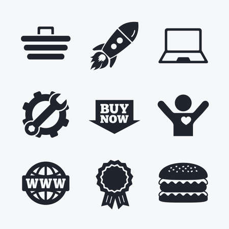 ultrabook: Award achievement, spanner and cog, startup rocket and burger. Online shopping icons. Notebook pc, shopping cart, buy now arrow and internet signs. WWW globe symbol. Flat icons.