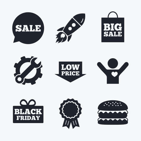 low prizes: Award achievement, spanner and cog, startup rocket and burger. Sale speech bubble icon. Black friday gift box symbol. Big sale shopping bag. Low price arrow sign. Flat icons.