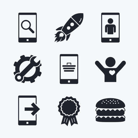 outcoming: Award achievement, spanner and cog, startup rocket and burger. Phone icons. Smartphone video call sign. Search, online shopping symbols. Outcoming call. Flat icons. Illustration