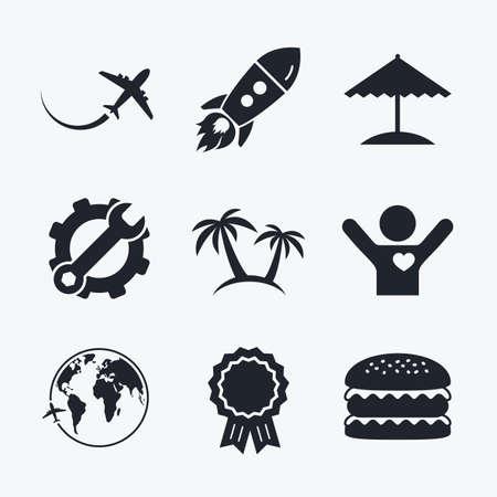 llave de sol: logro Premio, la llave y la rueda dentada, cohete de inicio y hamburguesa. icono de viaje. Avión, símbolos globo del mundo. Palmera y signos sombrilla de playa. iconos planos.