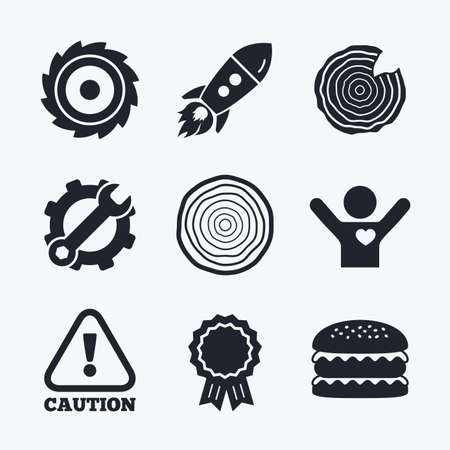 woodworking: Award achievement, spanner and cog, startup rocket and burger. Wood and saw circular wheel icons. Attention caution symbol. Sawmill or woodworking factory signs. Flat icons. Illustration