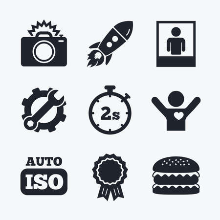 seconds: Award achievement, spanner and cog, startup rocket and burger. Photo camera icon. Flash light and Auto ISO symbols. Stopwatch timer 2 seconds sign. Human portrait photo frame. Flat icons.
