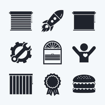 roll curtains: Award achievement, spanner and cog, startup rocket and burger. Louvers icons. Plisse, rolls, vertical and horizontal. Window blinds or jalousie symbols. Flat icons.