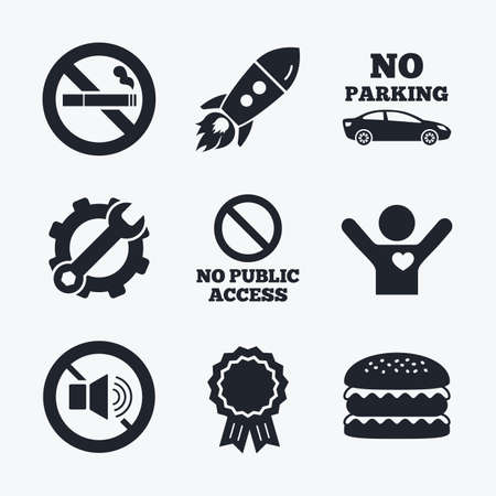 private access: Award achievement, spanner and cog, startup rocket and burger. Stop smoking and no sound signs. Private territory parking or public access. Cigarette symbol. Speaker volume. Flat icons.