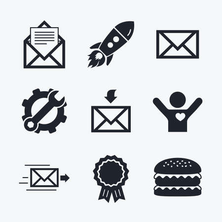 outbox: Award achievement, spanner and cog, startup rocket and burger. Mail envelope icons. Message document delivery symbol. Post office letter signs. Inbox and outbox message icons. Flat icons.
