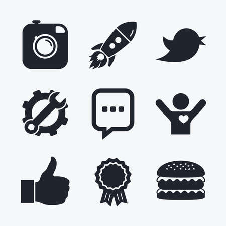 chat up: Award achievement, spanner and cog, startup rocket and burger. Hipster photo camera icon. Like and Chat speech bubble sign. Hand thumb up. Bird symbol. Flat icons. Illustration