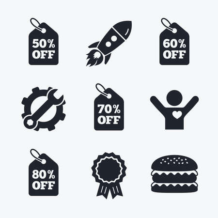 50 to 60: Award achievement, spanner and cog, startup rocket and burger. Sale price tag icons. Discount special offer symbols. 50%, 60%, 70% and 80% percent off signs. Flat icons.