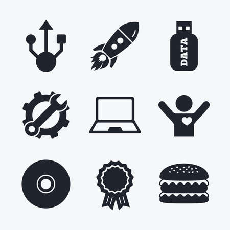 ultrabook: Award achievement, spanner and cog, startup rocket and burger. Usb flash drive icons. Notebook or Laptop pc symbols. CD or DVD sign. Compact disc. Flat icons. Illustration